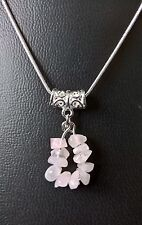 "TAURUS ROSE QUARTZ ZODIAC PENDANT ON 16"", 18"", 20"" SILVER PLATED CHAIN"