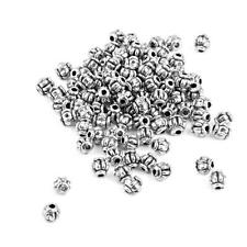 100pcs Tibetan Silver Round Lantern Pumpkin Spacer Loose Beads Connector 4mm