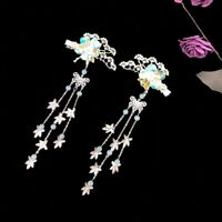 2pcs Retro Women Beads Flower Tassel Hairpins for Kimono Hanfu Party Cosplay