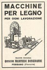 Z2399 Macchine lavorazione legno BONGIOANNI - Fossano - Pubblicità 1929 - Advert