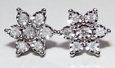 9CT WHITE GOLD 0.5CT DIAMOND CLUSTER SNOW FLAKE DAISY FLOWER STUD  EARRINGS