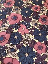 Vintage 50's Dorma Purple & Pink Floral Heavyweight  Cotton Fabric FQ 51cmx46cm