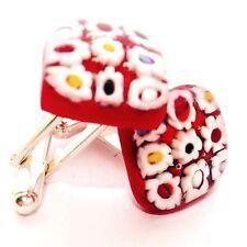 Red Daisy Flower Square Glass & Silver Murano Millefiori Cufflinks.