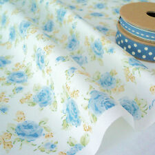 BLUE ROSE -  FLORAL ROSES on WHITE COTTON FABRIC per m SHABBY VINTAGE CHIC