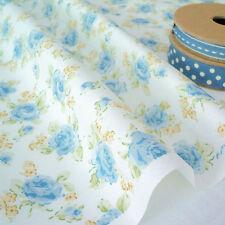 Blaue Rose-Blumen Rosen auf Weiß Baumwolle Stoff Pro M Shabby Vintage Chic