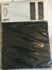 "IKEA Vivan Black Pair of Curtains 2 panels 57 x 98 1/2 "" drapes new"