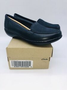 Clarks Collection Women's Ashland Jam Slip-On Loafers Navy Snake US 8W