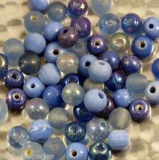 30 perles de verre artisanal 6 mm environ mélange bleu
