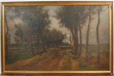 ANTIQUE MASSIVE TONALIST MOONLIGHT MASTER ARTIST LABELED & SIGNED OIL PAINTING
