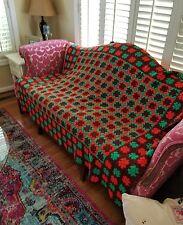 VINTAGE Granny Square Hand Crochet Afghan Throw Blanket Multicolor Hippie Boho