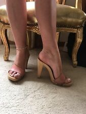 Mock wooden platform mules with peach leather strap size 7 Perfect For Holidays