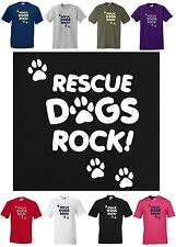 RESCUE DOGS ROCK  Dog Lovers T-shirt, S to 5XL Paw Prints