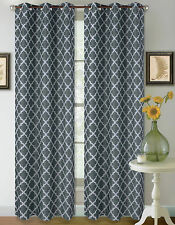 2 GEOMETRIC PANEL THERMAL BLACKOUT DRAPE SILVER GROMMETS WINDOW CURTAIN DRAPES