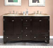 60-inch Travertine Stone Top Bathroom Vanity Dual Lavatory Sink Cabinet  0703TR