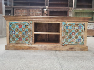 Indian Antique Tribal Hand Brass Work Art Solid Wooden Storage TV unit 95x45x45