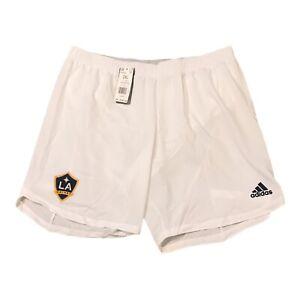 adidas LA Galaxy MLS Soccer Shorts Men's Size 2XL XXL White Blue Gold EH6520 NWT