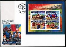 MALDIVES ISLANDS 2016 PARALYMICS  RIO 2016  SHEET FIRST DAY COVER