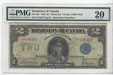 *1923*Dom of Canada DC-26c, $2 McC/Sau SN F-446753 ,Blue Seal Gr 1,  PMG VF-20