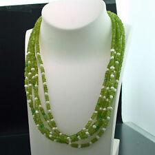 Peridot/Smaragd/Perl Collier 5-reihig 3,4 mm Rondellen 45 cm Wert ca. 1077.-EUR