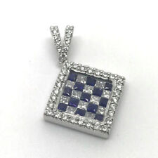 18k White Gold Chess Board Pendant with Blue Sapphires and Diamonds