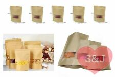 50x Zip Lock Resealable Paper Bag Window Brown Food Packaging Pouch Standup Foil