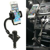 Dual USB Car Cigarette Lighter Socket Charger Mount Holder Stand For Cell Phone