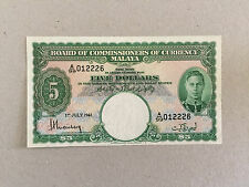 MALAYA 1941 KING GEORGE VI 5 DOLLAR P12 aUNC RARE NOTE A/99 012226 VERY NICE