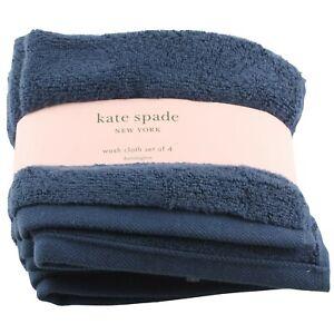 Kate Spade Washcloth 4 Piece Set Dark Blue Wash Cloth