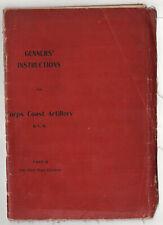 Rare 1907 CORPS COAST ARTILLERY MVM Boston NUTTER Military GUNNERS INSTRUCTIONS