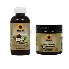 Tropic Isle Jamaican Black Castor COCONUT Oil & COCONUT Hair Food /applicator