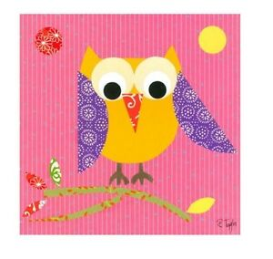 Oopsy Daisy Mod Owl On Pink Stretched Canvas by Rachel Taylor, 21 x 21 INCH