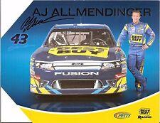 2011 AJ ALLMENDINGER signed NASCAR PHOTO CARD POSTCARD BEST BUY wCA indy car 500