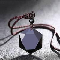 Women Men Necklace Black Obsidian Stone Pendant Jewelry Sweater Chain Ornaments