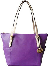 BNEW MICHAEL KORS  Jet Set EW Top Zip Pebbled Leather Tote Bag - Violet