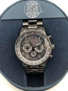 CITIZEN ECO-DRIVE Chronograph Stainless Steel MINT CONDTION JUST SERVICED In BOX