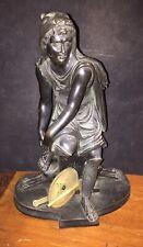 Antique BRONZE Statue SOLDIER HUNTER Cats SWORD SHIELD RARE