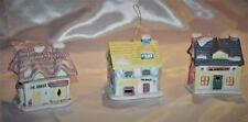 Vintage Ceramic village bell ornaments set of three