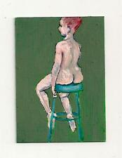 Nude Female Figure ACEO acrylic painting PRINT Sitting Woman ATC Handsigned art