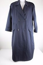 Gallery Petite Womens Coat Size 8 Trench Navy Blue Button Lined Jacket