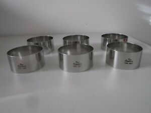 """6 FAT DADDIOS STAINLESS STEEL ROUND PASTRY RINGS 4"""" x 2"""" BRAND NEW"""