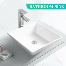 Square Bathroom Sink Porcelain Ceramic Vessel Vanity Basin Bowl Pop Up Drain