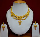 Gold Plated Unique Design Jewellery Indian Bridal Necklace Earrings Sets f37n30