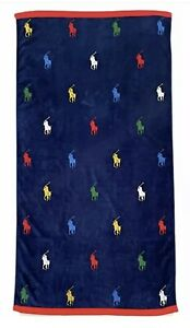 "NWT POLO RALPH LAUREN Plush Navy Beach Towel Big Pony Logos Overall 35""x66"""