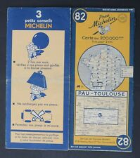 Carte MICHELIN old map n°82 PAU TOULOUSE 1950 Guide Bibendum pneu tyre