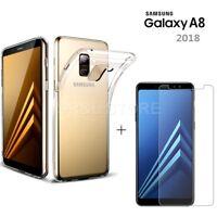COVER CUSTODIA TPU + PELLICOLA VETRO TEMPERATO per Samsung Galaxy A8 2018