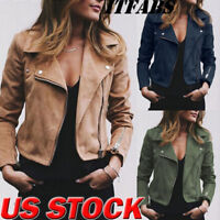 Women's Ladies Suede Jacket Flight Coat Zip Up Biker Casual Loose Tops Clothes