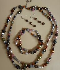 Mixed Colour Freshwater Pearl Necklace Bracelet And Earring Set