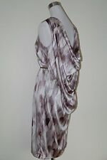 PORTS 1961 100% SILK MOCHA AND TAUPE BRUSH STROKE DRAPED BACK DRESS SIZE 4