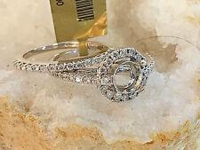 14k White Gold Diamond Semi Mount 2PC Bridal Wedding Ring Set.for Round Stone.SP