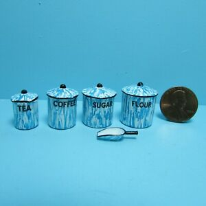 Dollhouse Miniature Blue Enamelware Canister Set with Scoop CAR0836